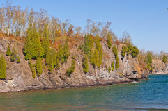 Pinos que crecen en el acantilado rocoso a lo largo de los Great Lakes Fotografía de archivo