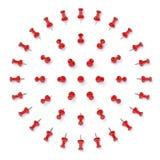 Pinos vermelhos do impulso isolados no fundo branco Imagens de Stock