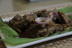 Panlasang pinoy BeefSteak. Pinoy beefsteak is a version of bistek tagalog that makes use of beef skirt steak. It has the same delicious taste and it is simple to royalty free stock images
