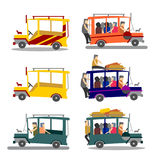 Pinoy Jeepney. Illustration of Philippine jeepney. Philippine jeep loaded with people. Different styles of jeepney vector illustration