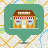 Pinpoint do ícone do restaurante do fast food no mapa da cidade Imagens de Stock