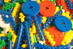 Pins. And blocks for assembly toys and other objects Royalty Free Stock Image