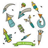 Pins and Arrows icons set colour Royalty Free Stock Photo