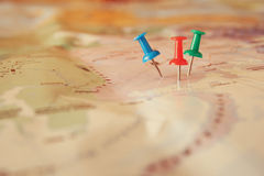Pins attached to map, showing location or travel destination Stock Photography