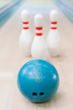 Pins and ball are great team. Royalty Free Stock Image
