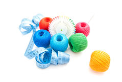 Pins, blue meter and thread Royalty Free Stock Images