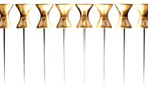Pins border 2. Border made of golden pins on the white background. Illustration made on computer Royalty Free Stock Photo