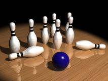 Pins and bowling ball Royalty Free Stock Image