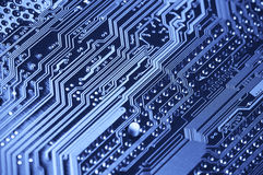 Pins on circuit board close-up Royalty Free Stock Photos