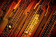 Pins on circuit board close-up Royalty Free Stock Photography