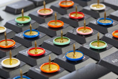 Pins on computer keyboard Royalty Free Stock Photography