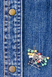 Pins on Denim Stock Photos