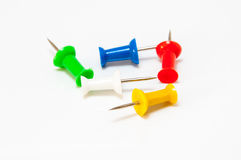 Pins in different colors, collection of various pushpins on whit. E background Stock Photography