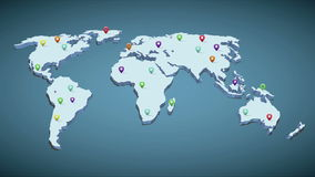 Pins on earth map stock footage