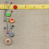 Pins on fabric. Pins on the background fabric Royalty Free Stock Images
