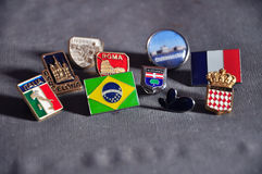 Pins flags. Traveler pins broches from countries Royalty Free Stock Image