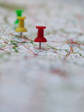 Pins on French map Royalty Free Stock Images