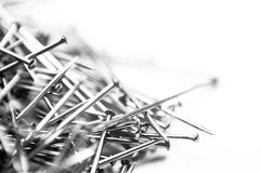 Pins macro isolated on white background Stock Photo