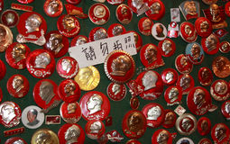 Pins of Mao Tse tung. Pins with the effige of Mao Mao Tse-tung in a chinese market. As leader of the revolution and founding father of the People's Republic of royalty free stock images