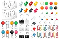 Pins paper clips. Push pins fasteners staple tack pin colored paper clip office organized announcement, realistic vector vector illustration