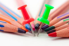 Pins and pencils Stock Photography