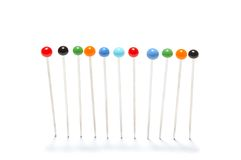 Pins in a row Royalty Free Stock Photography