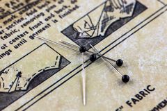 Pins and sewing instructions Royalty Free Stock Photography