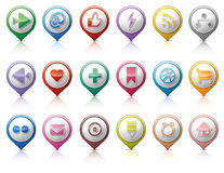 Pins with social media buttons Royalty Free Stock Photos