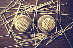 Pins and thimbles Stock Photography