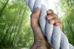Pinsa della gru a benna della mano dell'uomo che arrampica la corda verde della foresta Fotografia Stock