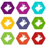 Pinscher dog icon set color hexahedron Royalty Free Stock Photos