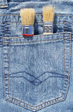 Pinsel in der Tasche Lizenzfreies Stockfoto