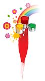 Pinsel, Lack, Wannen, Blumen und Regenbogen Stockfotografie