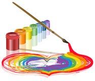 Pinsel malte ein Inneres Stockbild