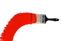Pinsel mit rotem Lack stockfotografie