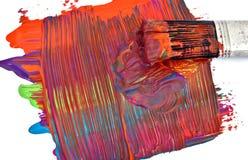 Pinsel und Acryllack Lizenzfreie Stockfotografie