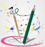 Pinsel und Bleistift Stockbilder