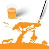 Pinsel und bunter Druck der Afrika-Tiere Stockfoto