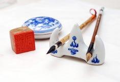 Pinsel und chinesischer Penholder Stockbilder