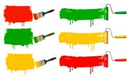 Pinsel- und Farbenrollen- und Farbenfahnen. Stockbild