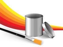 Pinsel- und Silbermetalldose Lizenzfreies Stockbild