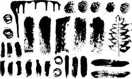 Pinselanschläge und Tinteund LackSplatters stock abbildung