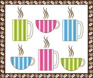 Pinstripe Coffee Cups. Retro Style pinstripe coffee cups Royalty Free Stock Photo