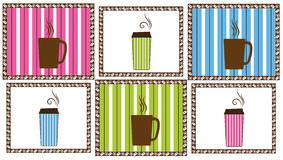 Pinstripe Coffee Tiles Royalty Free Stock Images