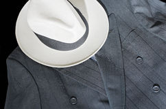 Pinstripe Suit and Fedora Hat Royalty Free Stock Images