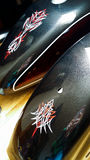 Pinstriped Motorcycle Tins. Pinstriped motorcycle tank and rear mudguard Stock Photography