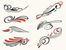 Pinstriping ornament elements, vector set royalty free illustration