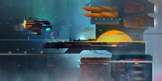 Pintó un paisaje fantástico oscuro El spaceport en el estilo del Cyberpunk ilustración del vector