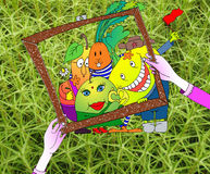 Pintó una imagen de frutas y verduras libre illustration