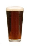 Pint of Beer. Pint of Brown Beer with foamy head, isolated on white Royalty Free Stock Photography